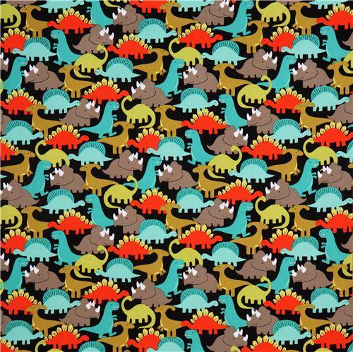Black dinosaur fabric retro michael miller dino mites for Kids dinosaur fabric