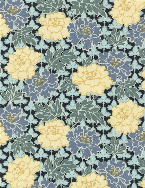 black fabric mint green blue flower leaf by Timeless Treasures ...