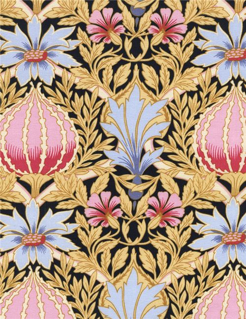 black fabric pink blue flower yellow-brown leaf by Timeless ...