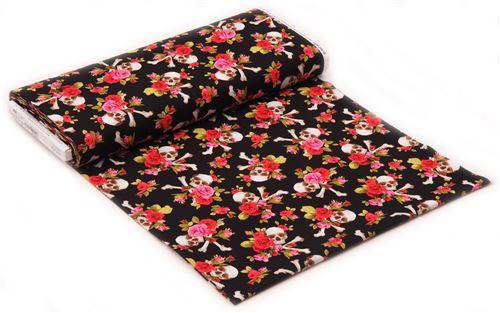 Black fabric pink red flowers skull cross bones charm skull black fabric pink red flowers skull cross bones charm skull michael miller 3 mightylinksfo