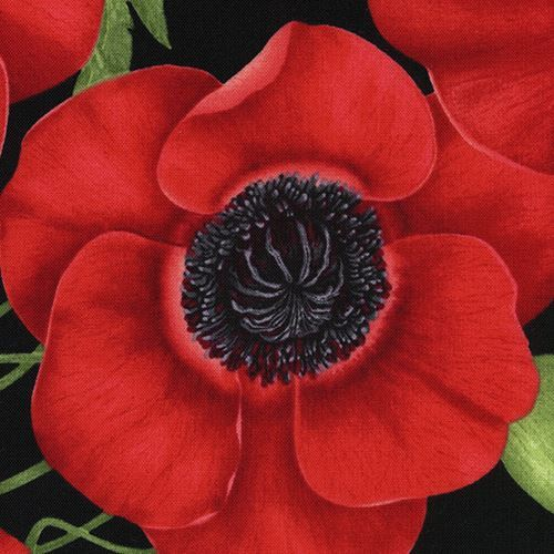 Black Fabric With Big Red Poppy Flower By Timeless Treasures