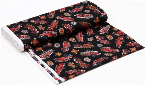 black fabric with fire engine vehicle transport Quilting Treasures ... : quilting treasures - Adamdwight.com