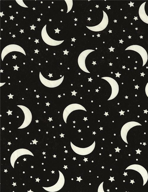 black dark grey fabric with glow in the dark moon and star by ...