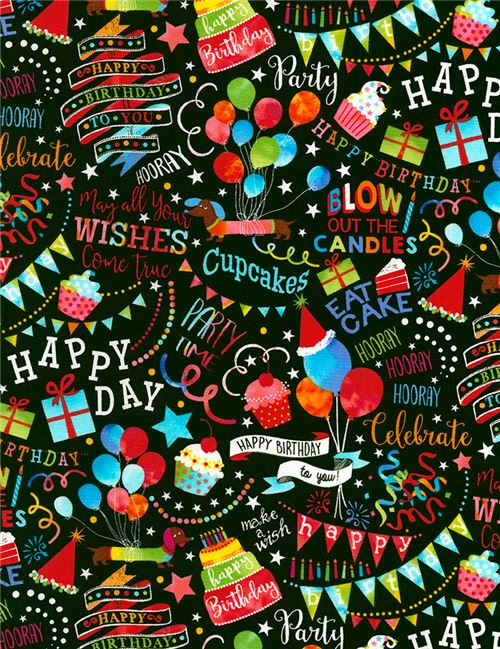 Black Fabric With Happy Birthday Text Cake Balloon By Timeless