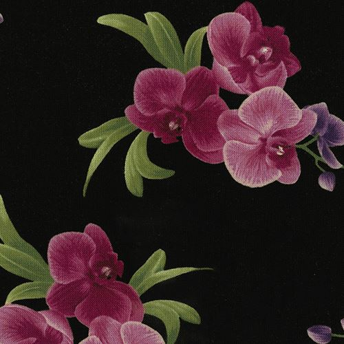 61d5b480791 black fabric with magenta purple orchid flower by Timeless Treasures ...