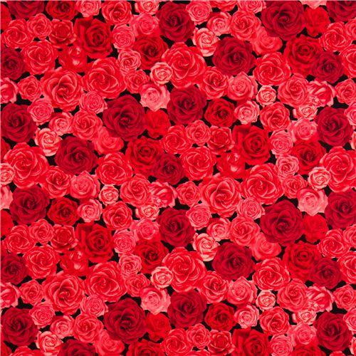 schwarzer rosen stoff mit roten rosa rosen aus den usa. Black Bedroom Furniture Sets. Home Design Ideas