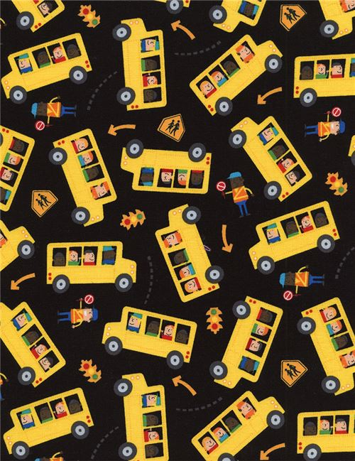 black fabric with yellow school bus arrow sign by Timeless ...