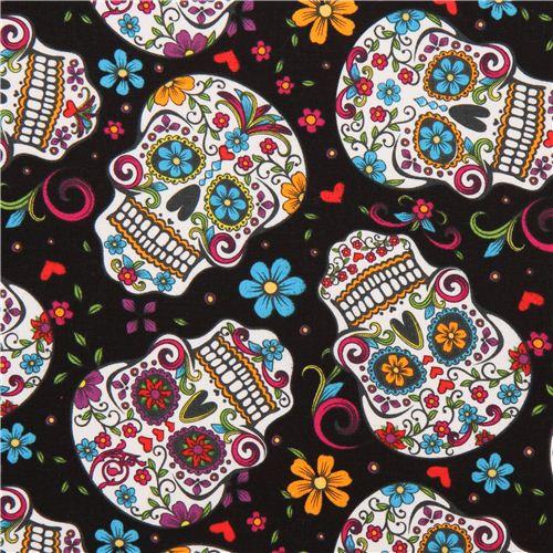 schwarzer blumen totenkopf stoff folkloric skulls usa totenkopf stoffe stoffe kawaii shop. Black Bedroom Furniture Sets. Home Design Ideas