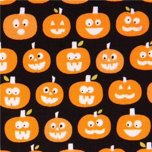 schwarzer Riley Blake Kürbis Glow in the dark Stoff Halloween Magic ...