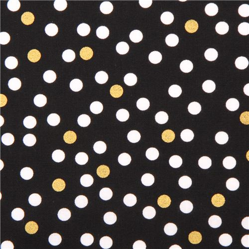 Black Gold Dots Metallic Fabric By Timeless Treasures
