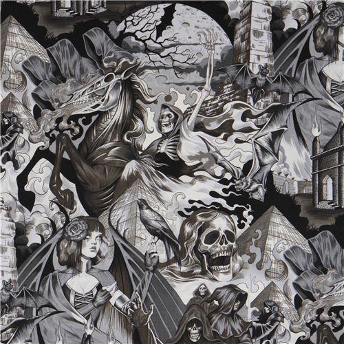 schwarz grauer alexander henry gothic totenkopf stoff mit d monen karneval stoffe stoffe. Black Bedroom Furniture Sets. Home Design Ideas