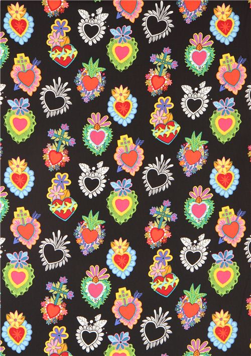 Black Heart Fabric With Flowers Alexander Henry USA Dots