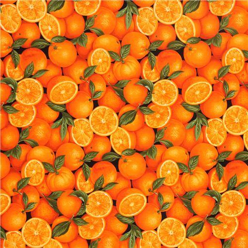 schwarzer orangen stoff von timeless treasures aus den usa - essen stoffe - stoffe