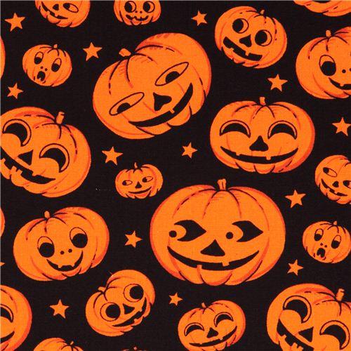 black orange pumpkin head halloween michael miller fabric 1 - Black And Orange Halloween