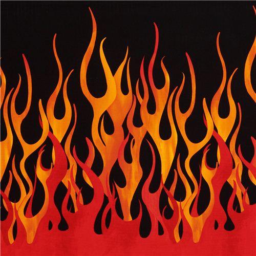 black orange red flame fire Michael Miller fabric
