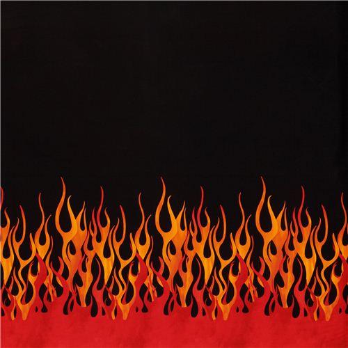 Tissu Noir Avec Des Flammes Orange Et Rouges Par Michael