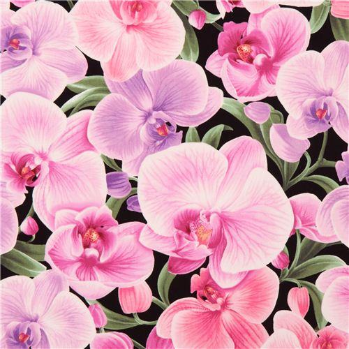 Black Orchid Blossom Flower Timeless Treasures Fabric Flower