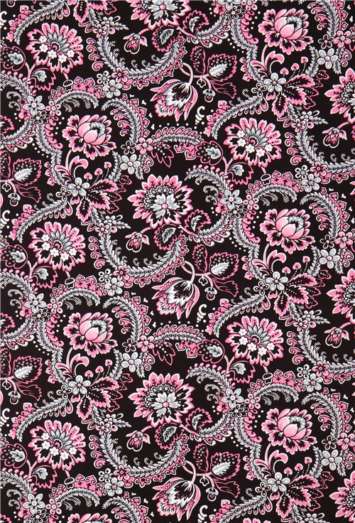 tissu noir avec des fleurs roses marseille par blank quilting etats unis tissus fleurs. Black Bedroom Furniture Sets. Home Design Ideas