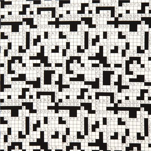 Black White Crossword Puzzle Fabric By Alexander Henry