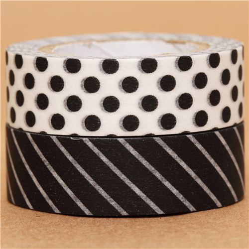 schwarz wei punkte streifen mt washi tape klebeband 2er set klebeband sets klebeb nder. Black Bedroom Furniture Sets. Home Design Ideas