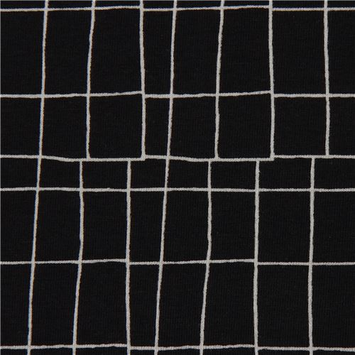 Black With Grey Line Rectangles Grid Design Knit Fabric Dear Stella