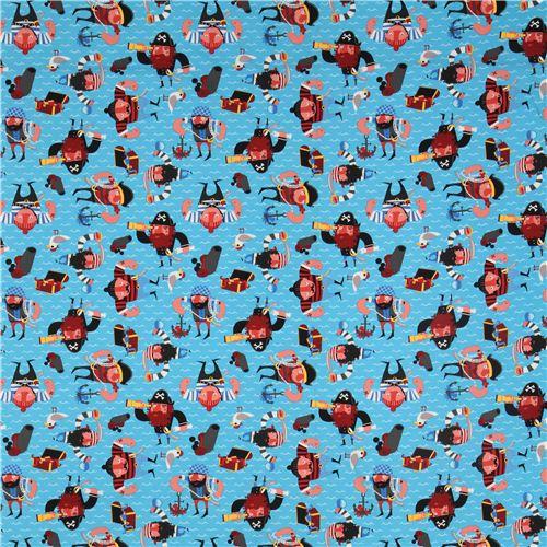 tissu alexander henry bleu motif de pirates captain redbeard tissus esprit marin tissus. Black Bedroom Furniture Sets. Home Design Ideas