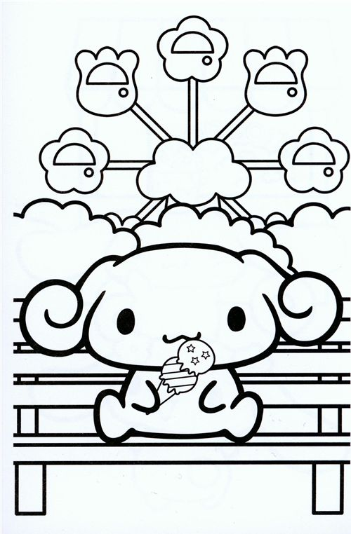 Blue cinnamoroll small coloring book sanrio japan memo for Printable japanese coloring pages