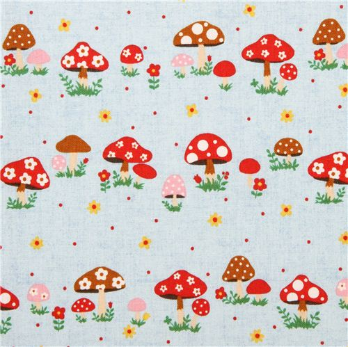 Blue Kokka Mushroom Toadstool Fabric From An