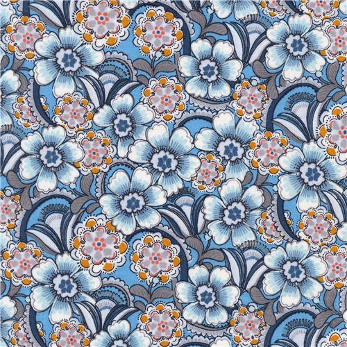 blauer stoff mit blumenmuster von michael miller blumenstoffe stoffe kawaii shop modes4u. Black Bedroom Furniture Sets. Home Design Ideas