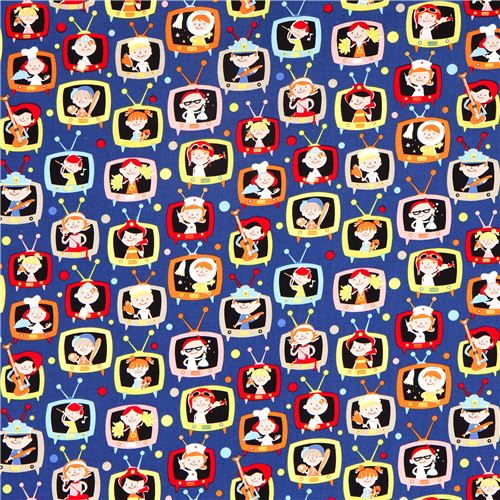 Blue michael miller fabric with kids in tvs children for Fabrics for children s curtains