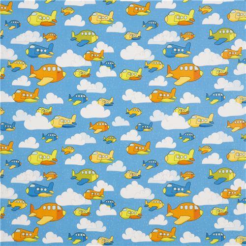Blue riley blake airplane fabric for boys fabric for for Childrens airplane fabric