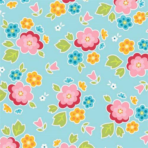 blue Riley Blake cute pink yellow blue flower leaf fabric - Flower ...