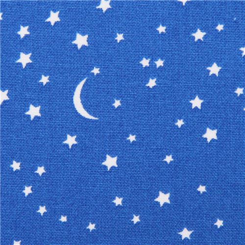 Blue star and moon fabric by michael miller usa children for Moon and stars fabric