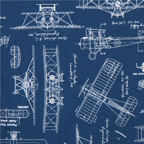 Blue Vintage Blueprints Airplane Draft Plan Fabric Robert Kaufman