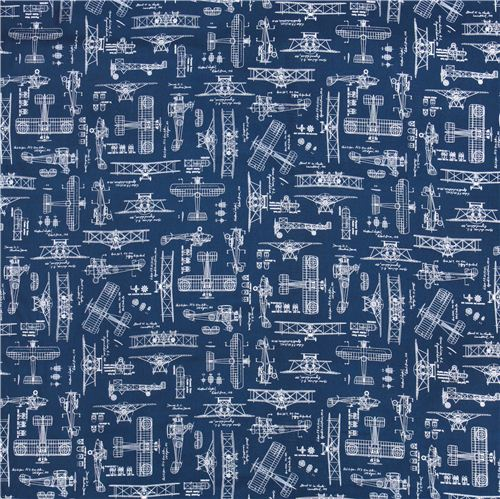 Blue vintage blueprints airplane draft plan fabric robert kaufman malvernweather Image collections
