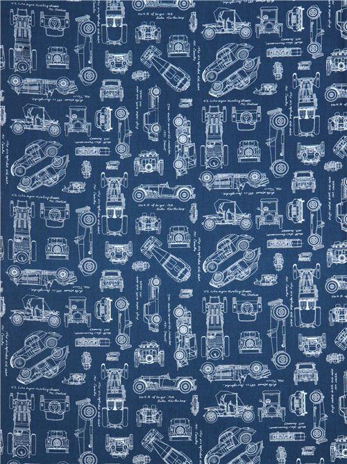 blauer \'Vintage Blueprints\' Auto Plan Blaupausen Stoff Robert ...