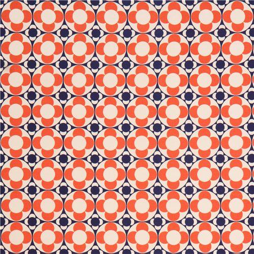 tissu oxford avec un motif de fleurs bleues et orange par kokka japon tissus fleurs tissus. Black Bedroom Furniture Sets. Home Design Ideas