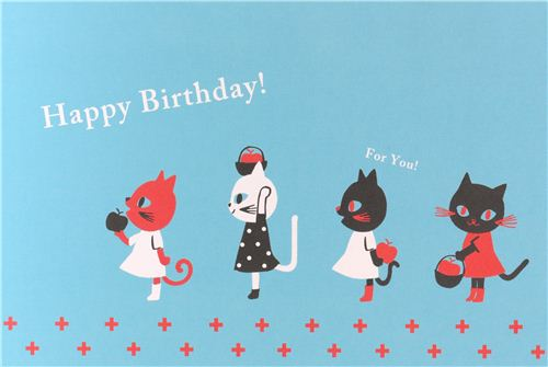 Blue Cat Apple Happy Birthday Postcard Card From Japan