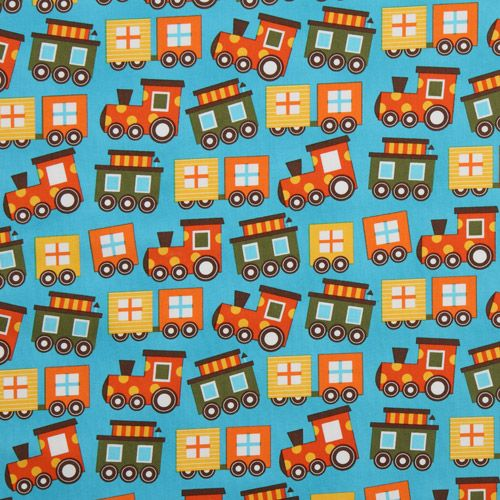 Blue organic fabric colourful train by robert kaufman for Children s jersey fabric