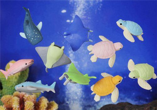 Blue fish manta skate eraser by iwako animal eraser for Sashimi fish crossword