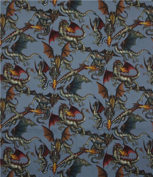 blaugrauer stoff mit drachen von alexander henry tierstoffe stoffe kawaii shop modes4u. Black Bedroom Furniture Sets. Home Design Ideas