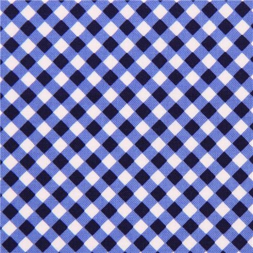 blue navy blue white checkered fabric Michael Miller Cross Check ...