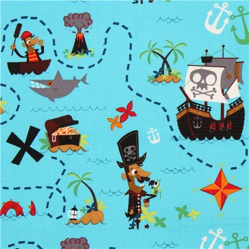 Blue pirate treasure map fabric usa pirate journal for Kids pirate fabric