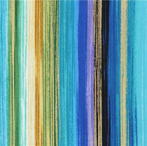 Blue Purple Colorful Stripe Gold Metallic Fabric By Timeless Treasures