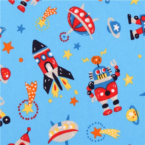 Blue space robot spaceship oxford fabric kokka japan for Space boy fabric