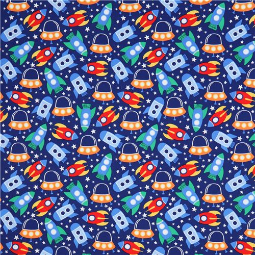 Blue spaceship space fabric michael miller space station for Space boy fabric