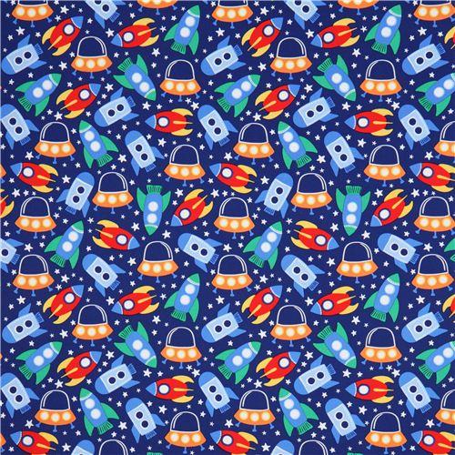 Blue spaceship space fabric michael miller space station for Space station fabric