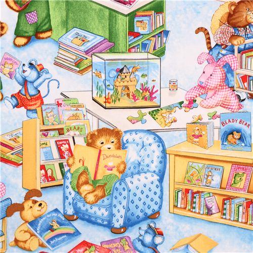 Blue Teddy Bear Library Fabric Timeless Treasures Corduroy Animal