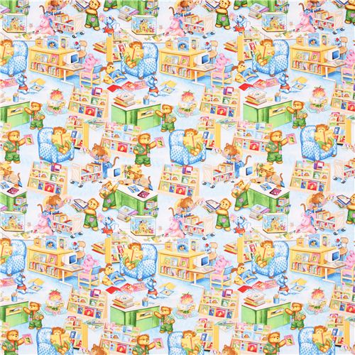 Blue teddy bear library fabric timeless treasures corduroy for Kids corduroy fabric