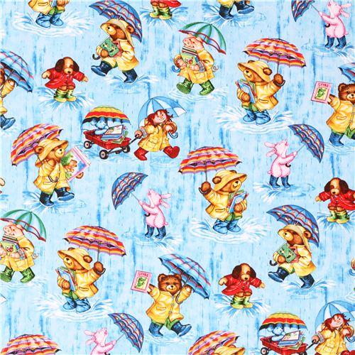 Blue teddy bear rain fabric timeless treasures corduroy for Children s corduroy fabric